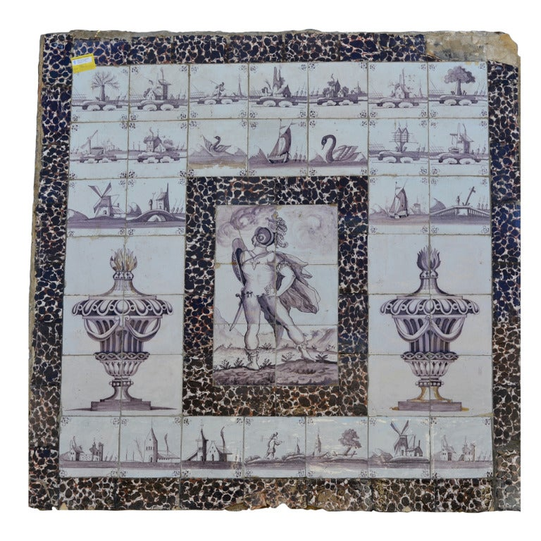 18th Century Delft Manganese Tile Picture At 1stdibs