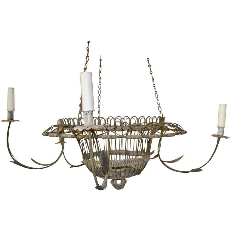 Large french wire basket chandelier at 1stdibs - Wire basket chandelier ...