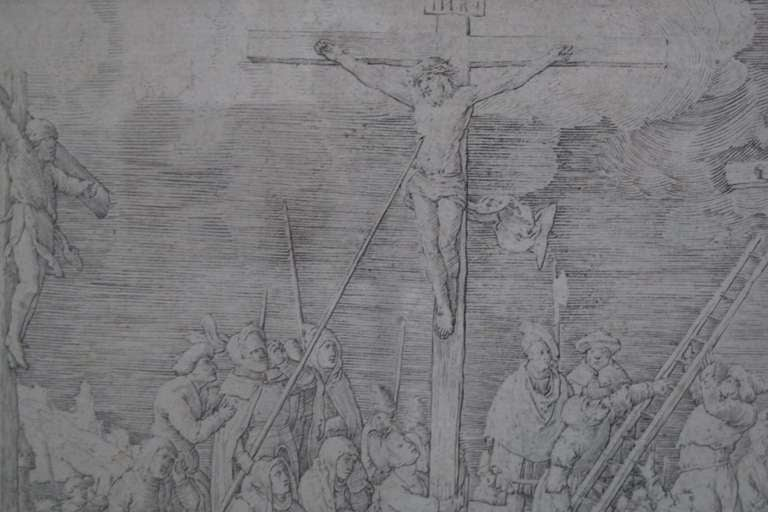 Original 16th Century Copperplate Engraving of Golgotha by Dutch Master Lucas Van Leyden image 2