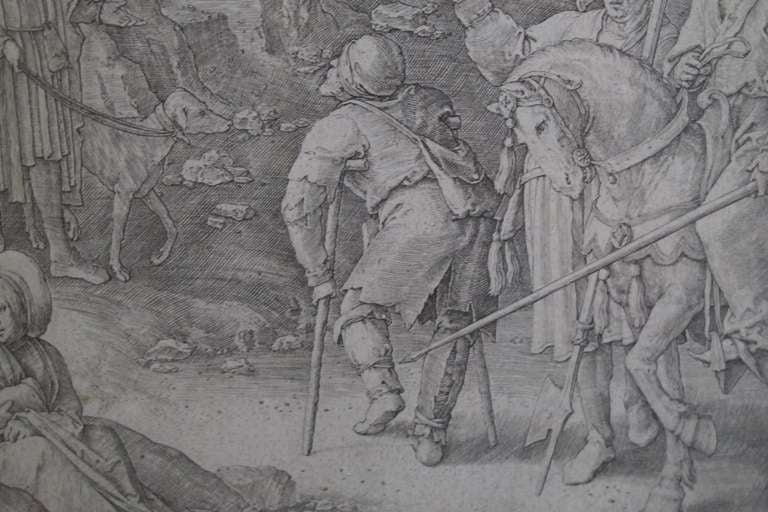 Original 16th Century Copperplate Engraving of Golgotha by Dutch Master Lucas Van Leyden image 6