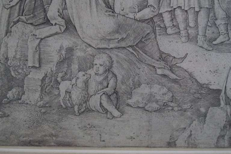 Original 16th Century Copperplate Engraving of Golgotha by Dutch Master Lucas Van Leyden image 3