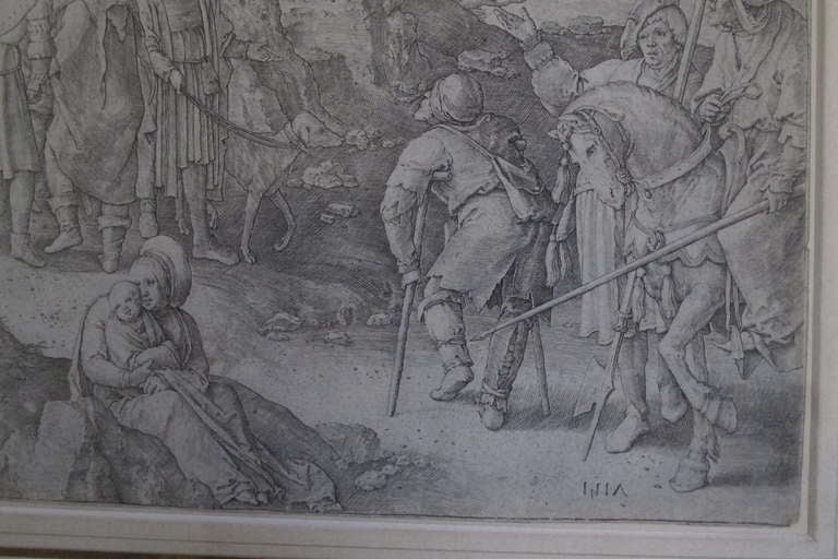 Original 16th Century Copperplate Engraving of Golgotha by Dutch Master Lucas Van Leyden image 4