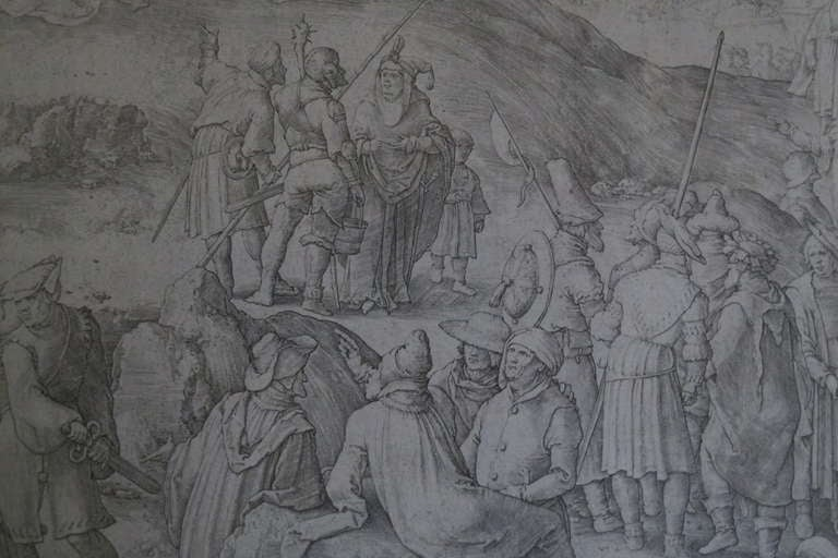 Original 16th Century Copperplate Engraving of Golgotha by Dutch Master Lucas Van Leyden image 8