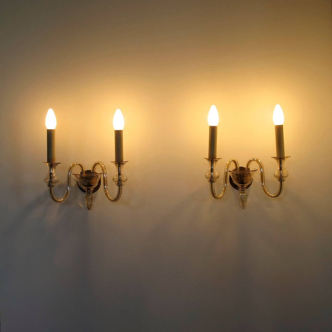 Venetian Glass Wall Lights : Pair of Venetian Glass Wall Lamps at 1stdibs