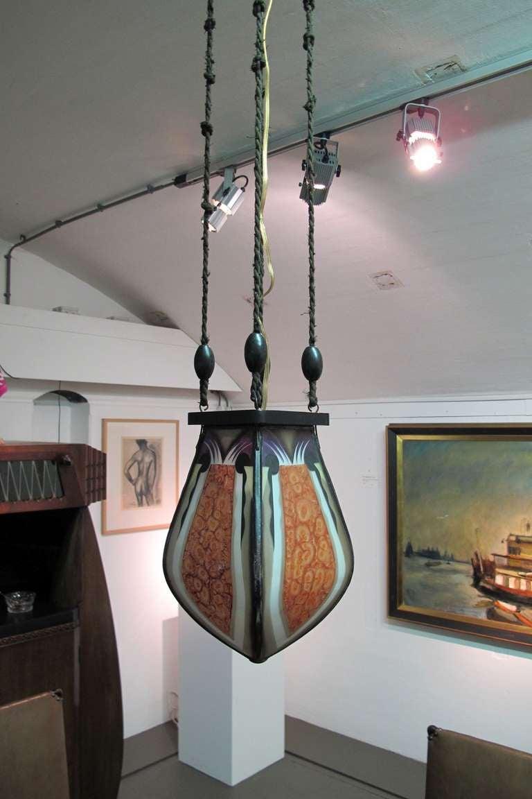 Amsterdam School Stained Glass Pendant Light 1920s Dutch