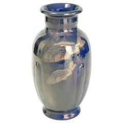 Art Nouveau Earthenware Vase with Fish Decor by St. Lukas Utrecht