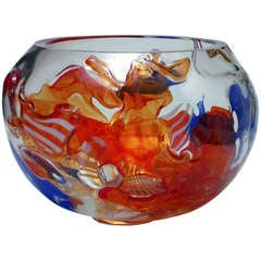 Studio Glass One-Off Bowl by A. D. Copier, Oude Horn, 1989