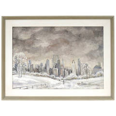 "Adrian Lubbers ""Winter in New York"" Oil on Canvas, 1941"