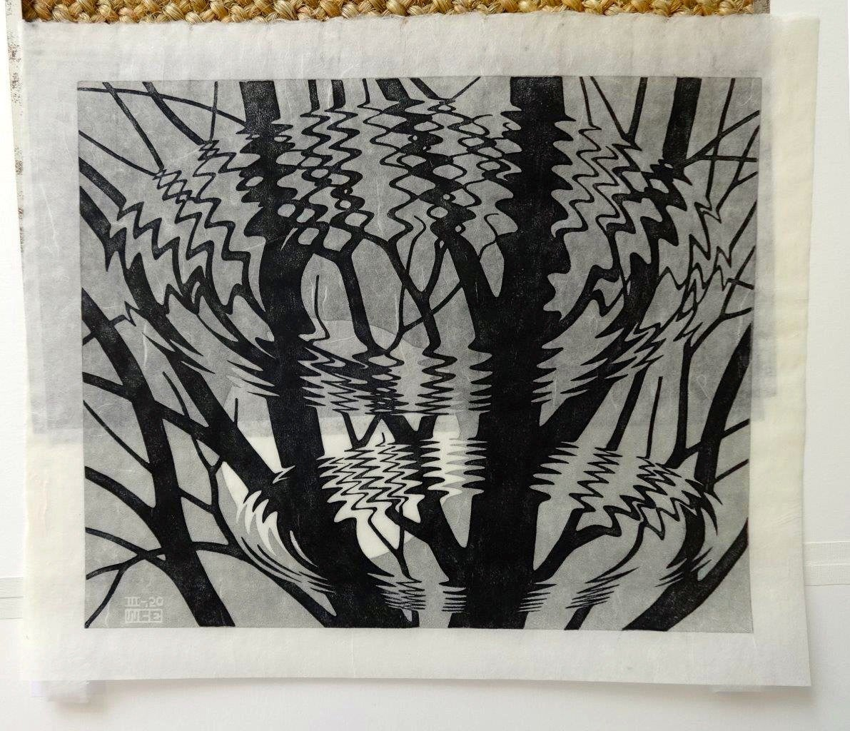 M C Escher Rimpeling Signed Linocut Printed By The