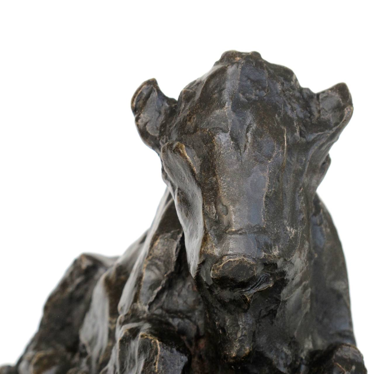 Early 20th Century Placid Bronze Sculpture of a Sitting Ox by Lambertus Zijl, 1916 For Sale