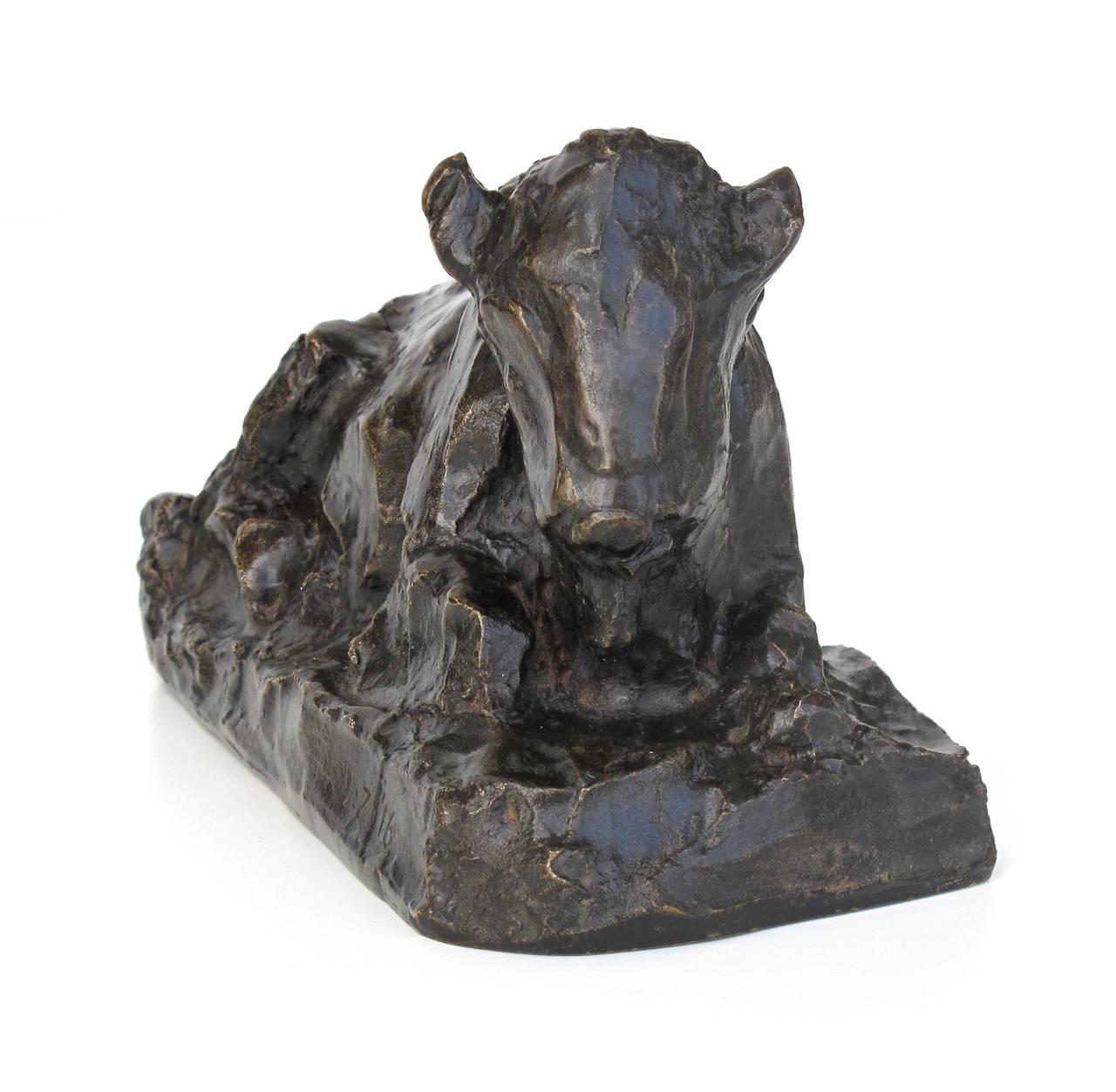 Art Nouveau Placid Bronze Sculpture of a Sitting Ox by Lambertus Zijl, 1916 For Sale