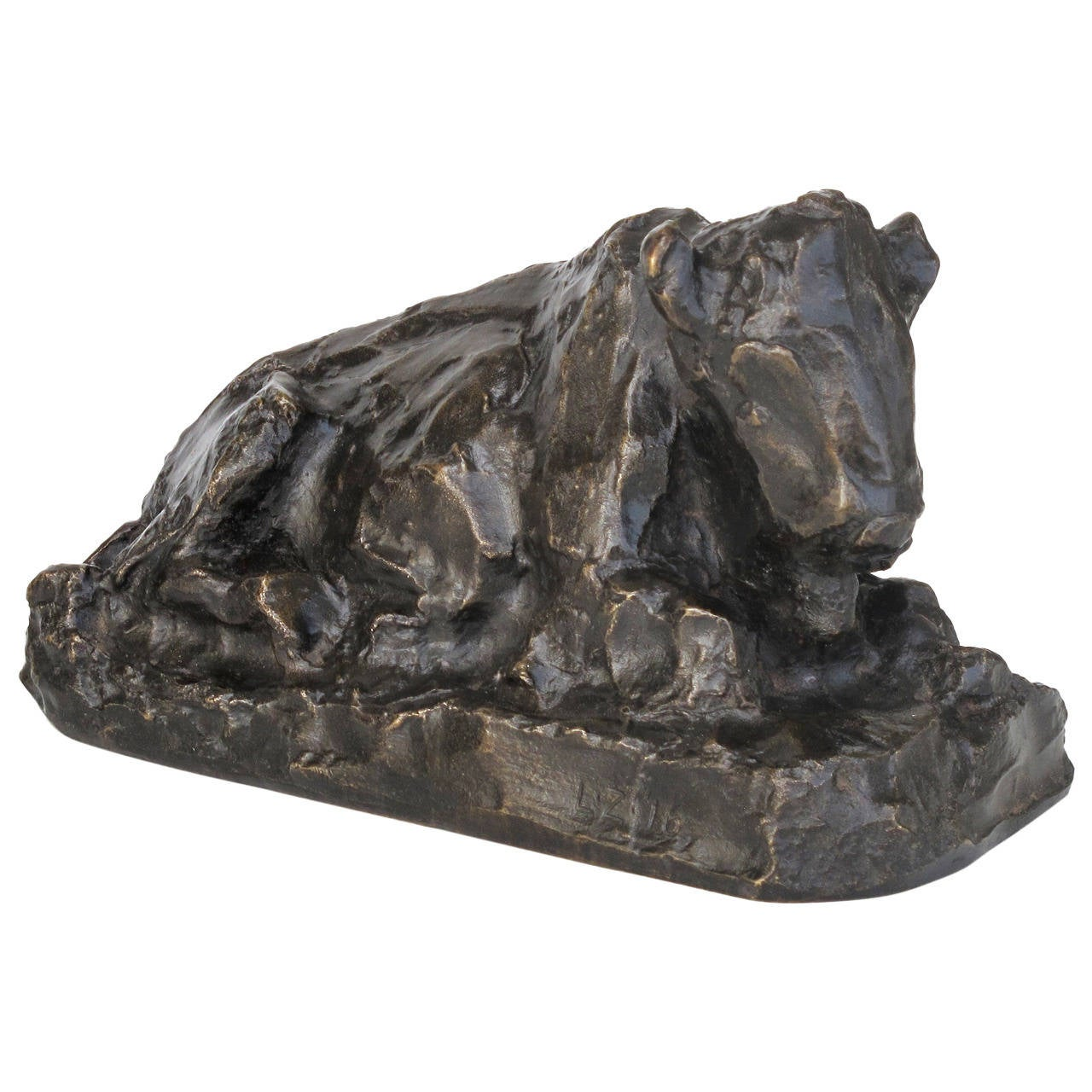 Placid Bronze Sculpture of a Sitting Ox by Lambertus Zijl, 1916 For Sale