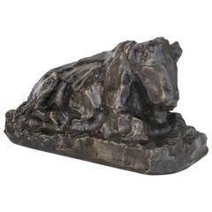 Placid Bronze Sculpture of a Sitting Ox by Lambertus Zijl, 1916