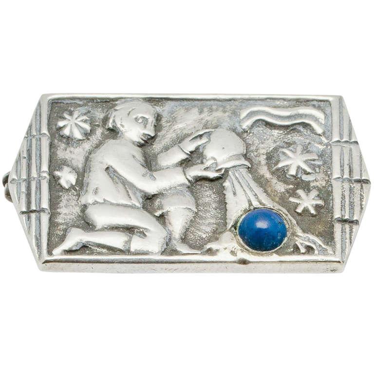 Silver Broche with Aquarius by Fons Reggers, Dutch Art Deco