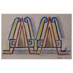 Samuel L. 'Mommie' Schwarz Art Deco Watercolor
