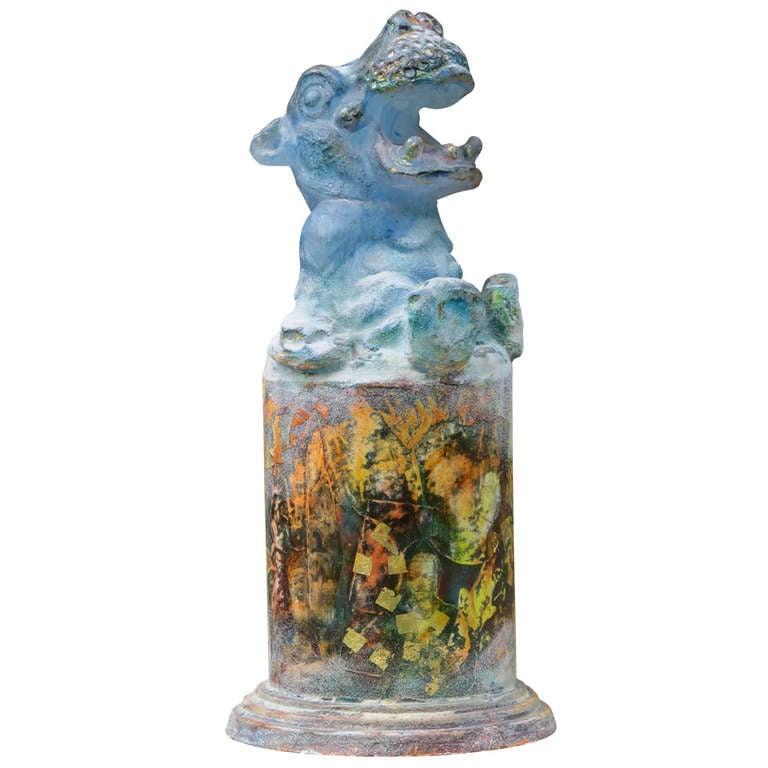 Modern Glass Sculpture of a Laughing Hippo by Antoon van Wijk