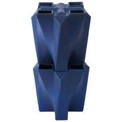 Two Blue Glazed Stoneware Tulip Tower Vases by Jan van der Vaart, 1989