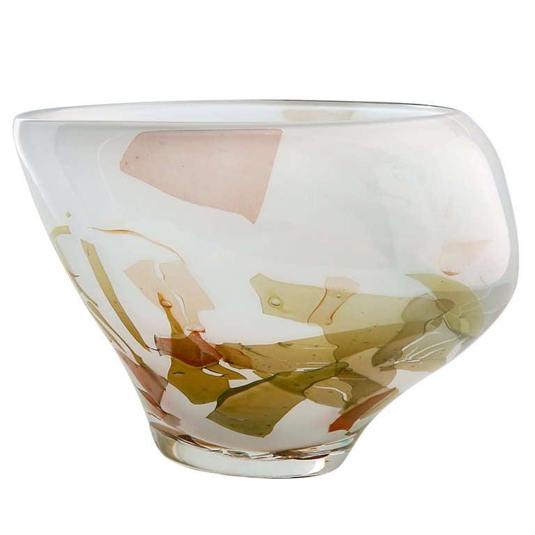 Art Glass Vase with Organic Shape by Sybren Valkema, Leerdam Unica