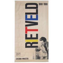 Gerrit Rietveld Exhibition Poster in De Stijl Colors for Cassina by Fair Milano