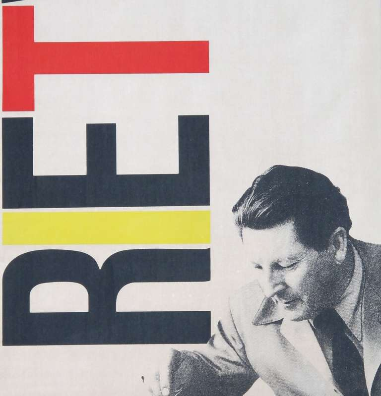 gerrit rietveld exhibition poster in de stijl colors for cassina by fair milano at 1stdibs. Black Bedroom Furniture Sets. Home Design Ideas