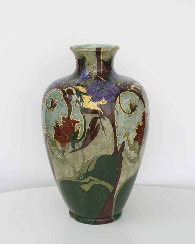 Exceptionnel Extremely Large and Rare Art Nouveau Vase By Brantjes, Faience De  UD22