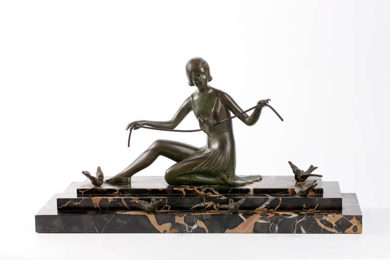 French Art Deco Bronze Sculpture Woman with Birds 2
