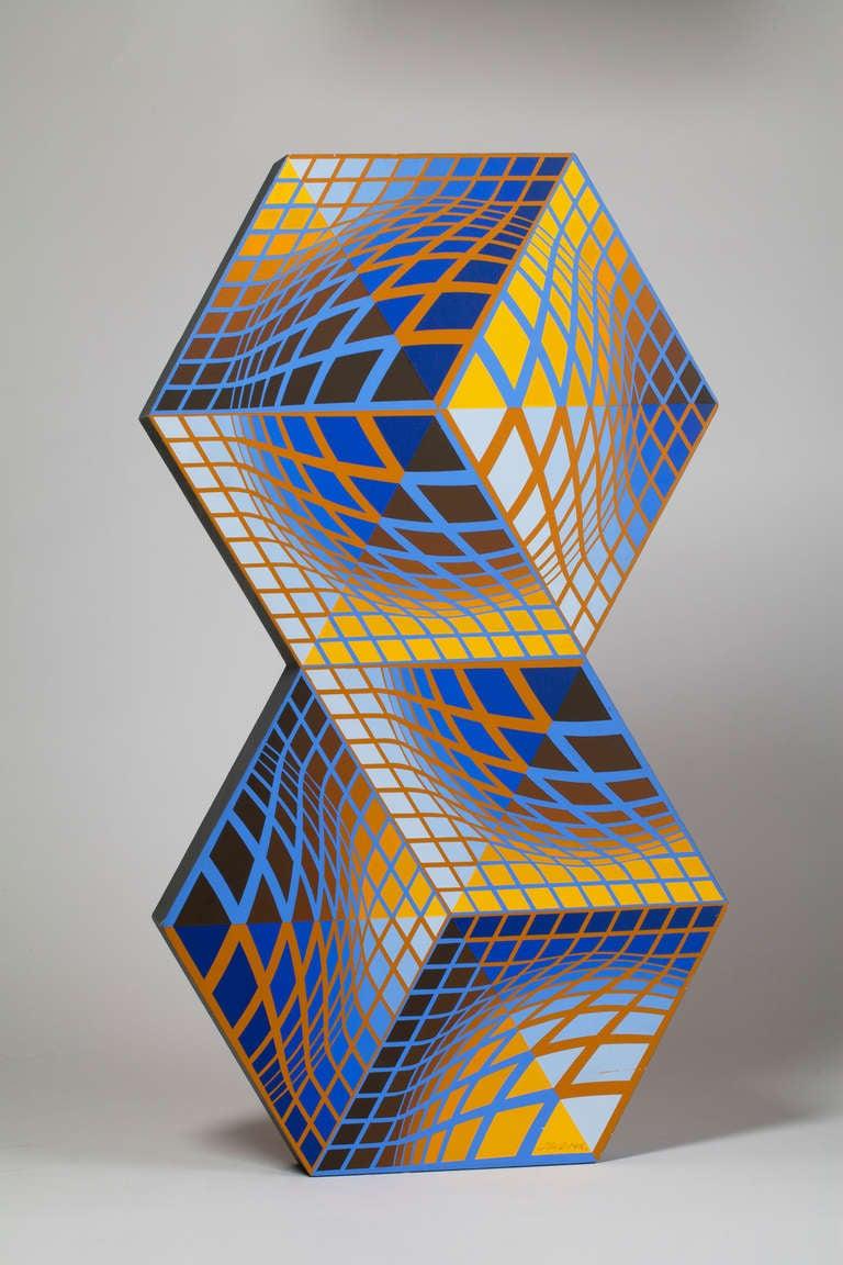 Imagem Escultura acrílico na madeira Victor Vasarely pintado à mão 2