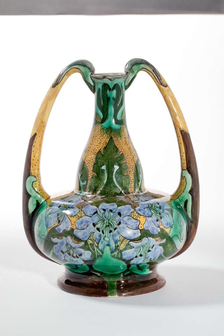 Dutch art nouveau vase brantjes purmerend circa 1900 for sale at beautiful art nouveau earthenware ear vase by weduwe nsa brantjes co dutch pottery reviewsmspy
