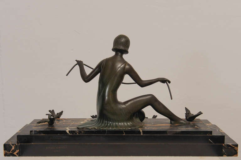 French Art Deco Bronze Sculpture Woman with Birds 6