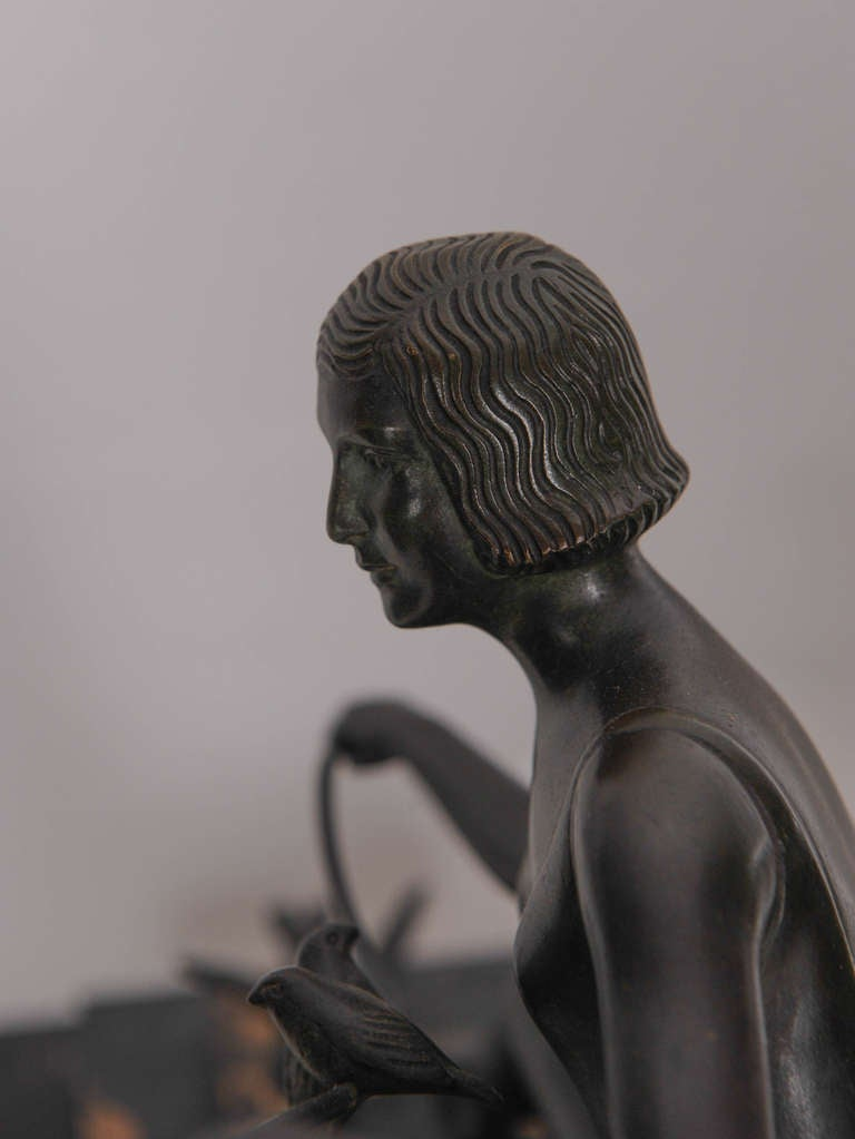 French Art Deco Bronze Sculpture Woman with Birds 4
