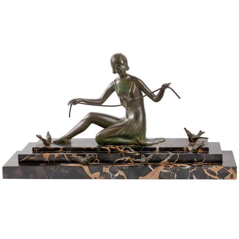 French Art Deco Bronze Sculpture Woman with Birds 1