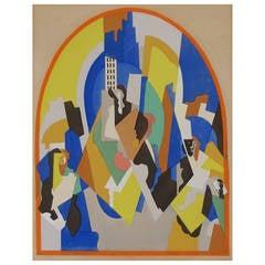 """Albert Gleizes, Cubist Gouache Stencil, """"Decoration Pour La Gare De Moscou"""""""
