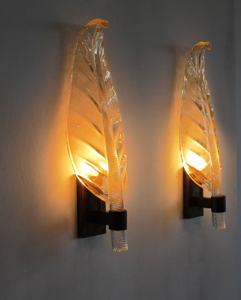 Gold Glass Wall Lights : Pair of Very Large Barovier and Toso Murano Gold Glass Leaf Wall Sconces at 1stdibs