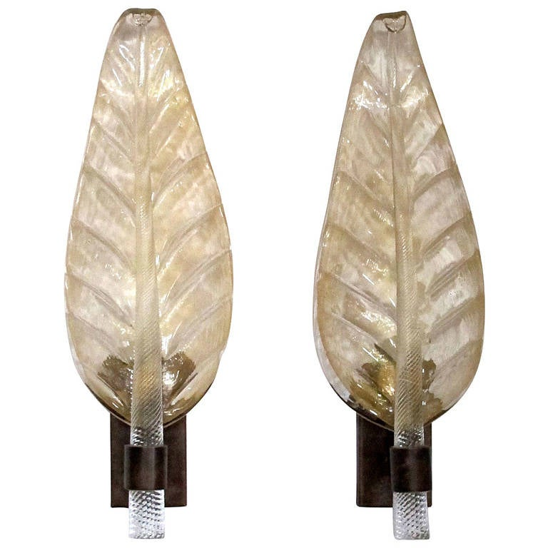 Pair of Very Large Barovier and Toso Murano Gold Glass Leaf Wall Sconces at 1stdibs