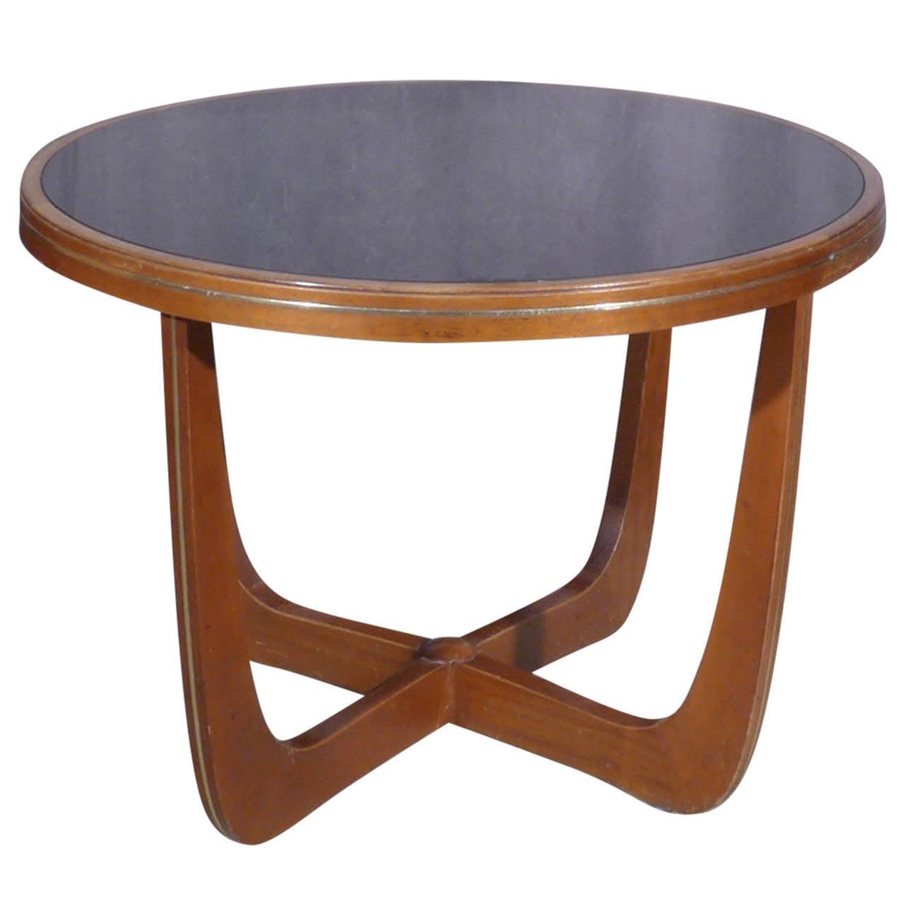 Italian Mahogany And Black Glass Side Table At 1stdibs