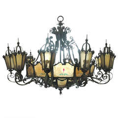 Huge Bronze and Iron Theatre Chandelier with Painted Glass