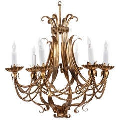 Six-Candle Wrought Chandelier with Rope Design