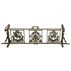 Wrought Iron Bench Frame with Bronze Plaques