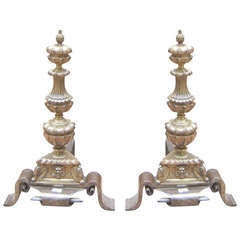 Pair of French Bronze Figural Andirons