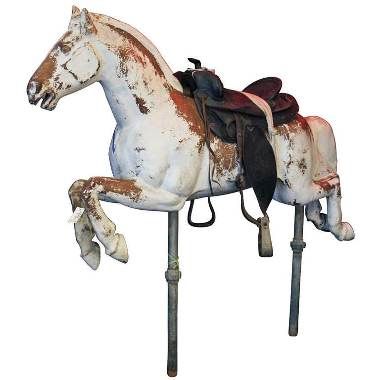 Fiberglass Carousel Horse With Stand At 1stdibs