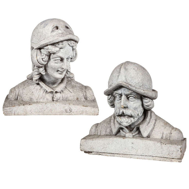 Terracotta Figural Busts of a Man and Woman For Sale
