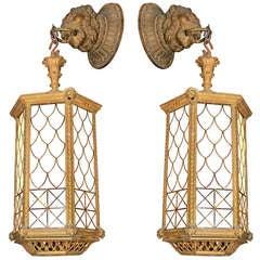 Bronze Lion Lantern Sconces from Blackie's Restaurant
