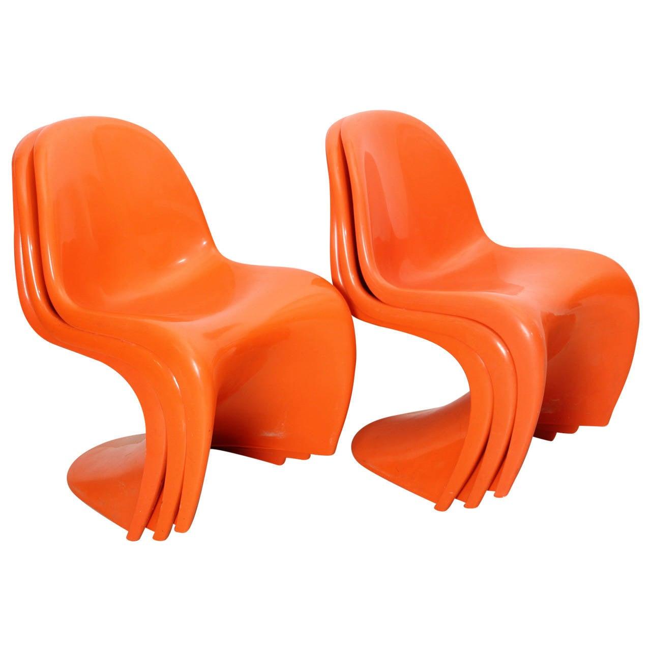 6 panton chairs by verner panton edited by herman miller in 1960 at 1stdibs. Black Bedroom Furniture Sets. Home Design Ideas