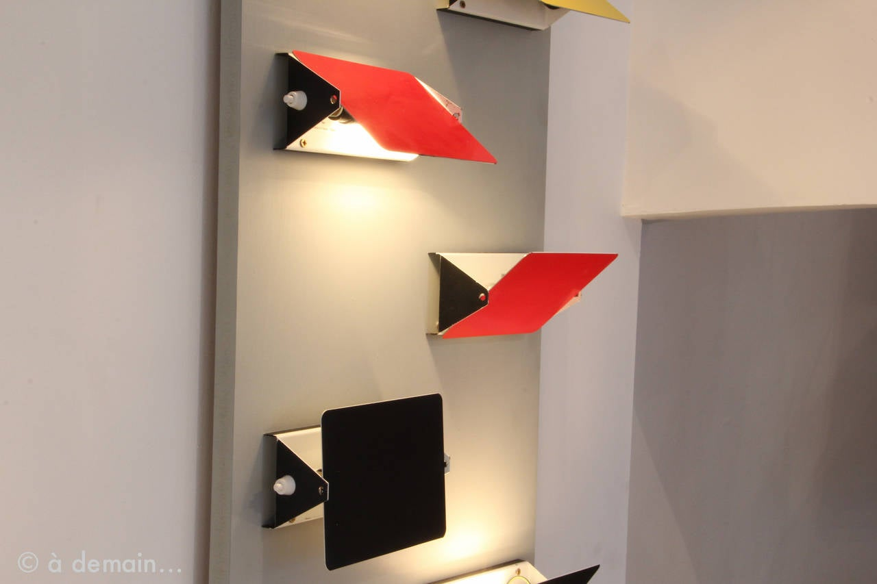 six cp1 wall lamps by charlotte perriand for les arcs ski resort from 1960s at 1stdibs. Black Bedroom Furniture Sets. Home Design Ideas