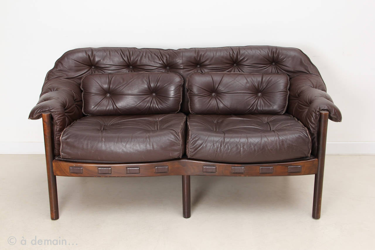 arne norell leather sofa edited by coja in 1968 at 1stdibs. Black Bedroom Furniture Sets. Home Design Ideas