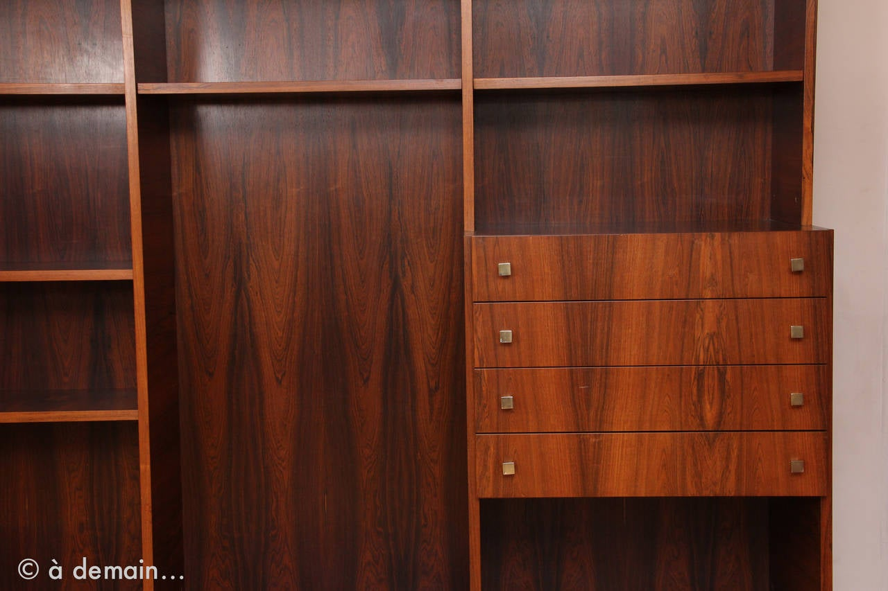 1960s danish large rosewood bookcase at 1stdibs for Armoire scandinave