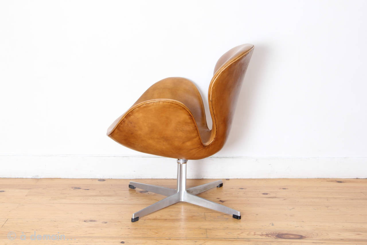This arne jacobsen swan chair in cognac leather by fritz hansen is no - Swan Chair By Arne Jacobsen Produced By Fritz Hansen From 1969 3