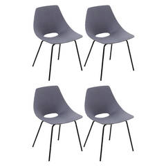 "4 Grey ""Tonneau"" Chairs by Pierre Guariche Edited by Steiner in 1954"