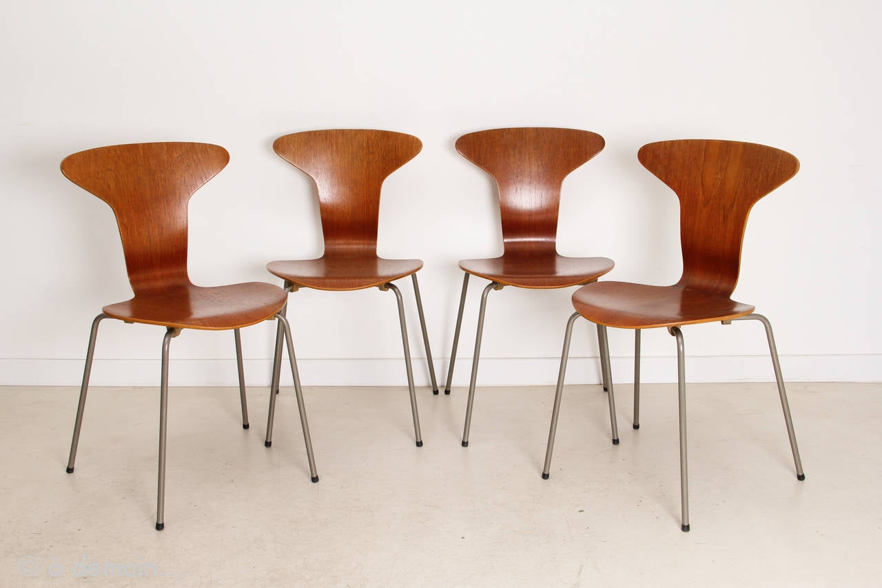 Arne jacobsen dining set with four mosquito chairs for Chaise arne jacobsen