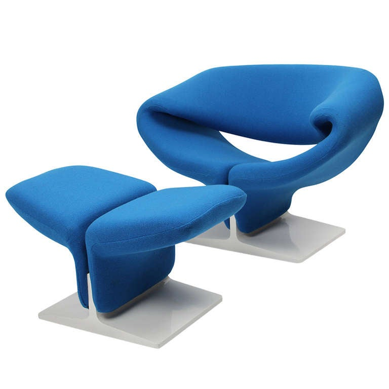 Ribbon Chair And Ottoman Designed By Pierre Paulin, Edited By Artifort,  1966 For Sale